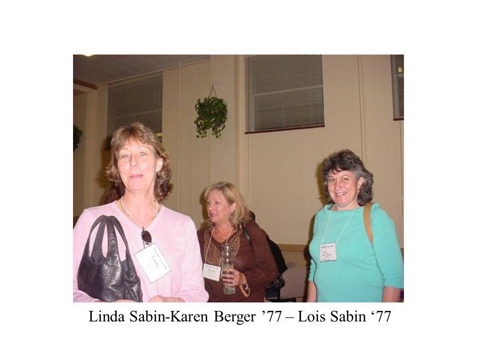 Linda Sabin-Karen Berger '77 – Lois Sabin '77