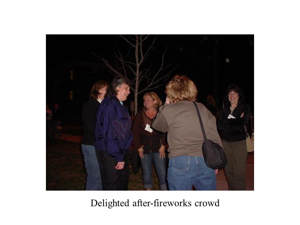 Delighted after-fireworks crowd
