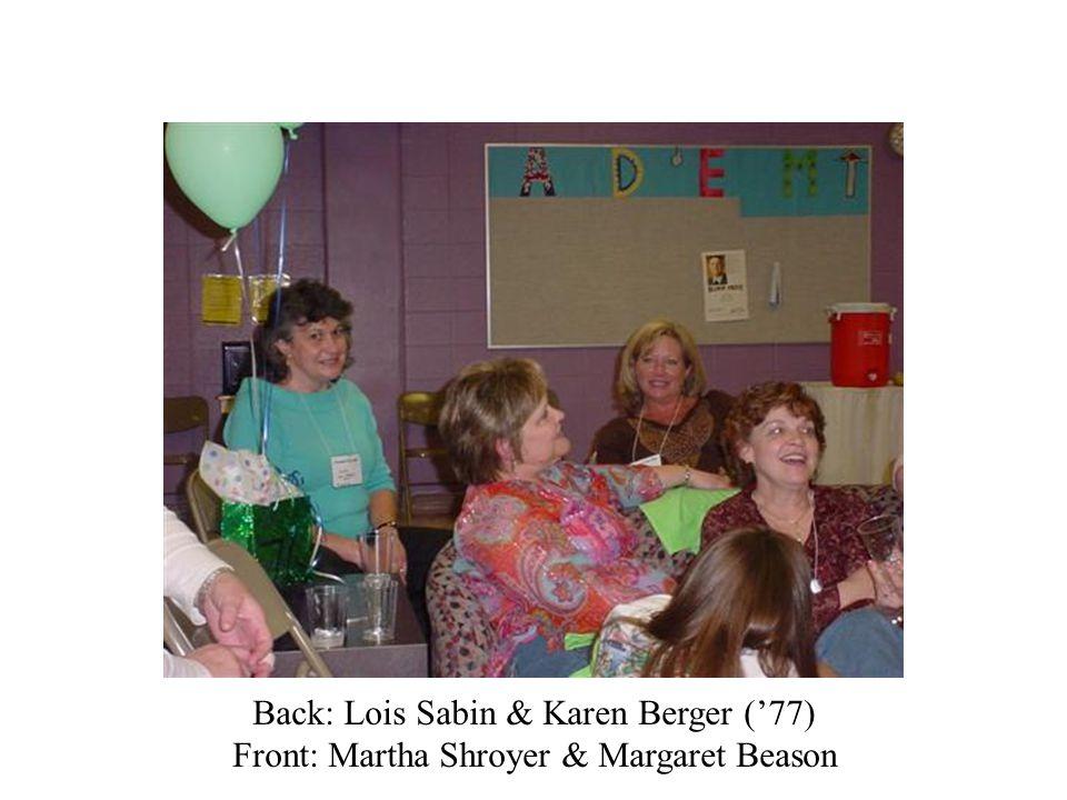 Back: Lois Sabin & Karen Berger ('77)
