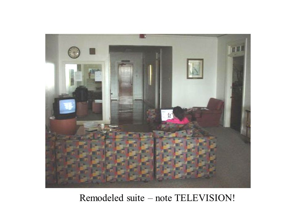 Remodeled suite – note TELEVISION!