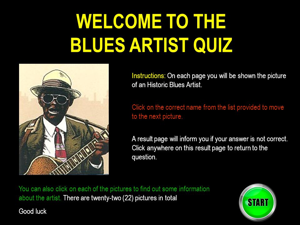 WELCOME TO THE BLUES ARTIST QUIZ
