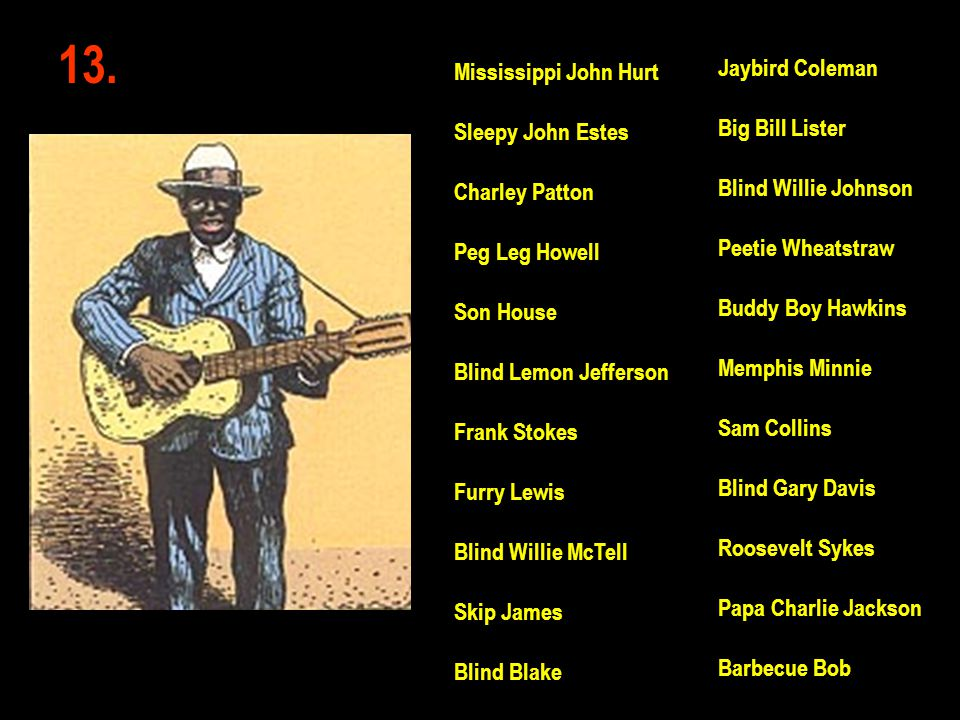 13. Jaybird Coleman Mississippi John Hurt Big Bill Lister