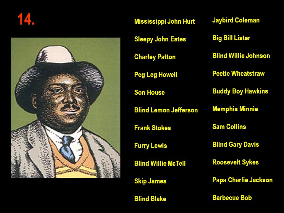 14. Jaybird Coleman Mississippi John Hurt Big Bill Lister