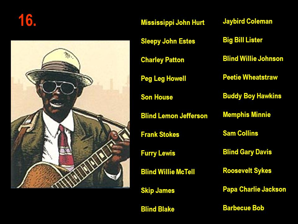 16. Jaybird Coleman Mississippi John Hurt Big Bill Lister