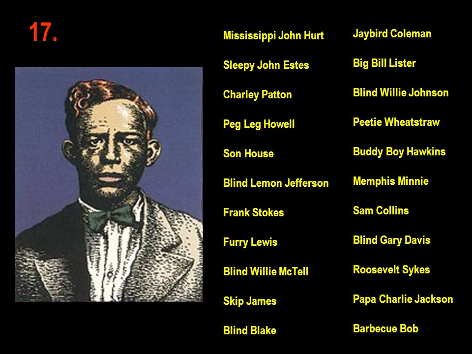 17. Jaybird Coleman Mississippi John Hurt Big Bill Lister