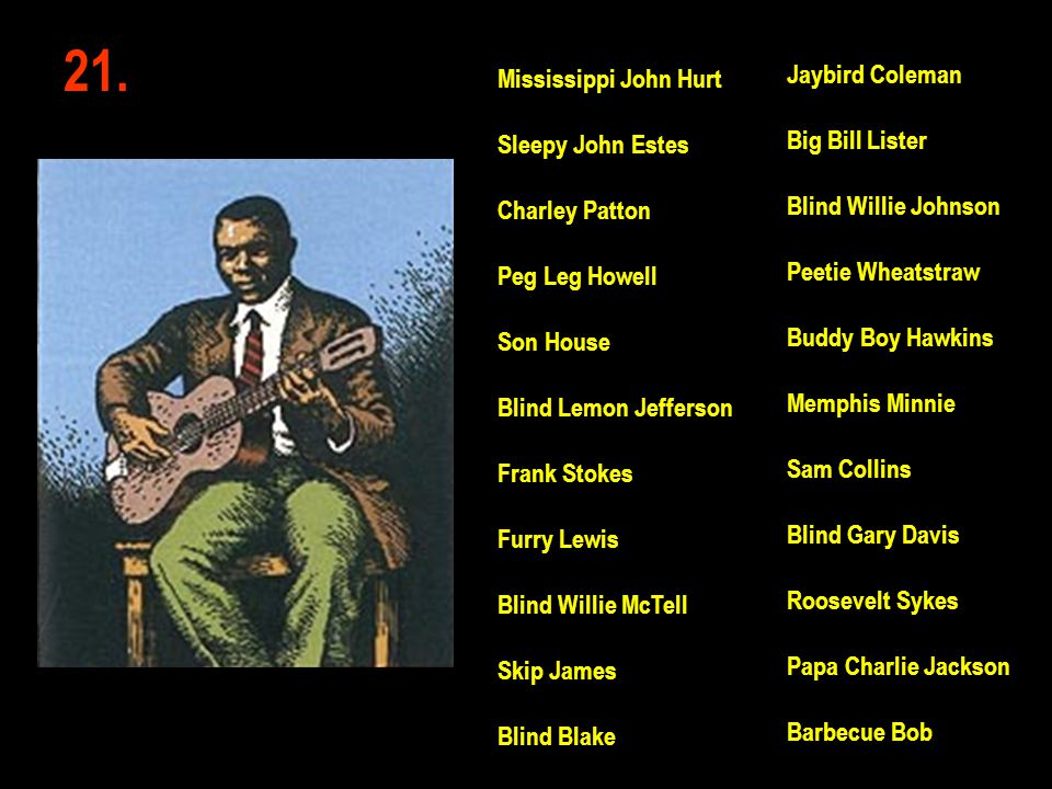 21. Jaybird Coleman Mississippi John Hurt Big Bill Lister