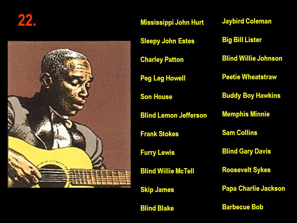 22. Jaybird Coleman Mississippi John Hurt Big Bill Lister