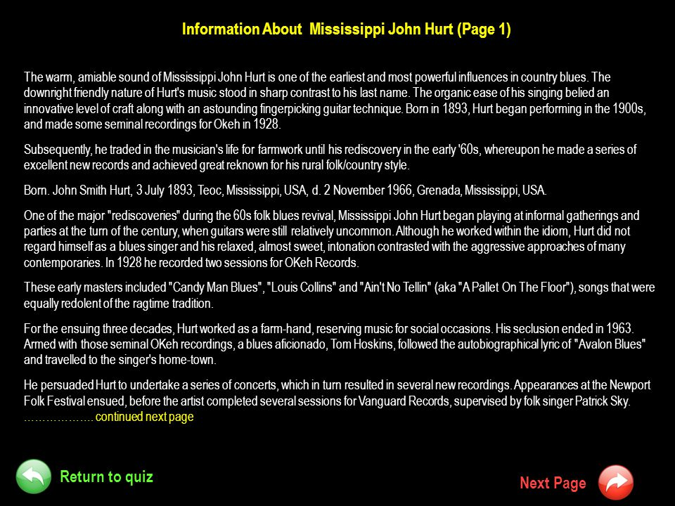 Information About Mississippi John Hurt (Page 1)
