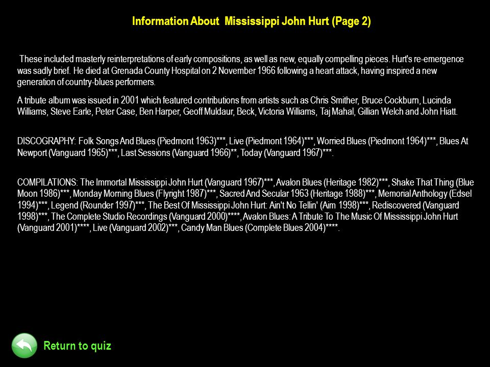 Information About Mississippi John Hurt (Page 2)