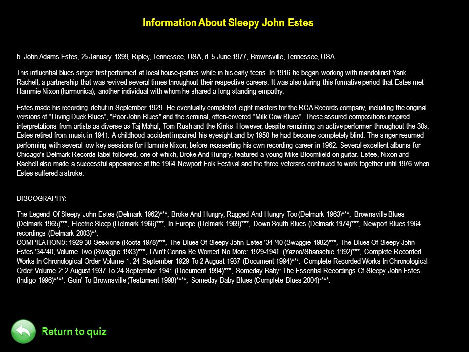 Information About Sleepy John Estes