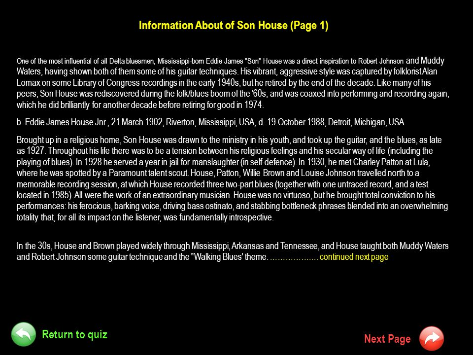 Information About of Son House (Page 1)
