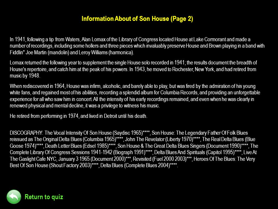 Information About of Son House (Page 2)