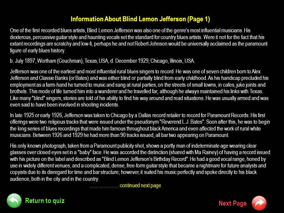 Information About Blind Lemon Jefferson (Page 1)