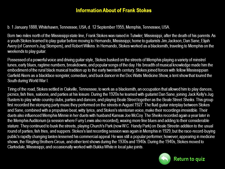 Information About of Frank Stokes