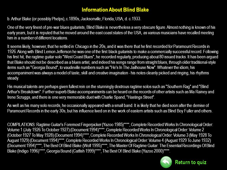 Information About Blind Blake