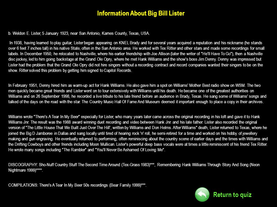 Information About Big Bill Lister
