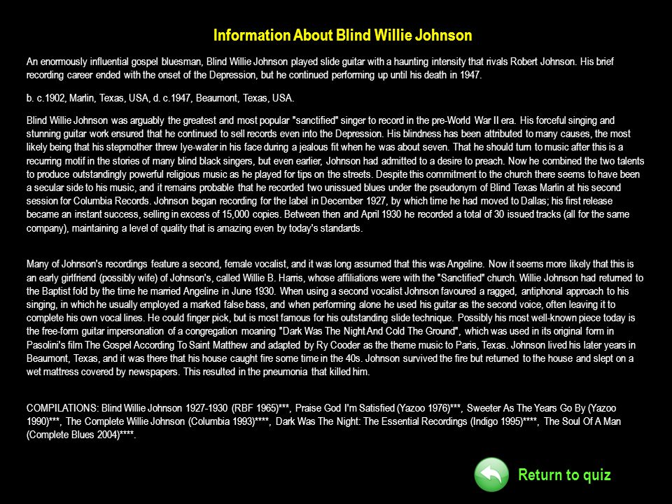 Information About Blind Willie Johnson