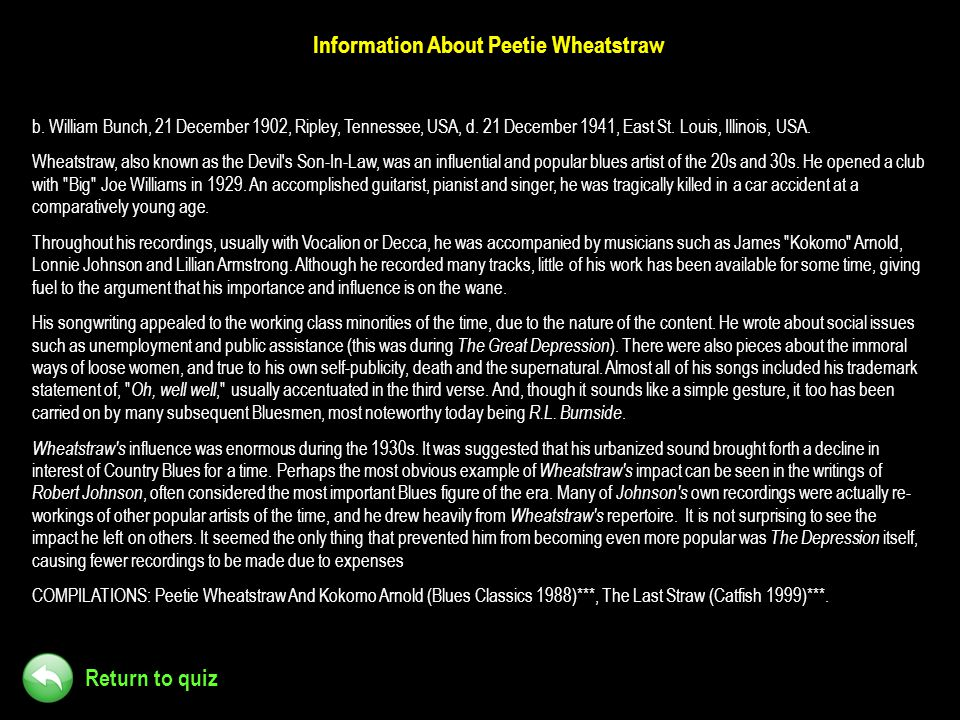 Information About Peetie Wheatstraw