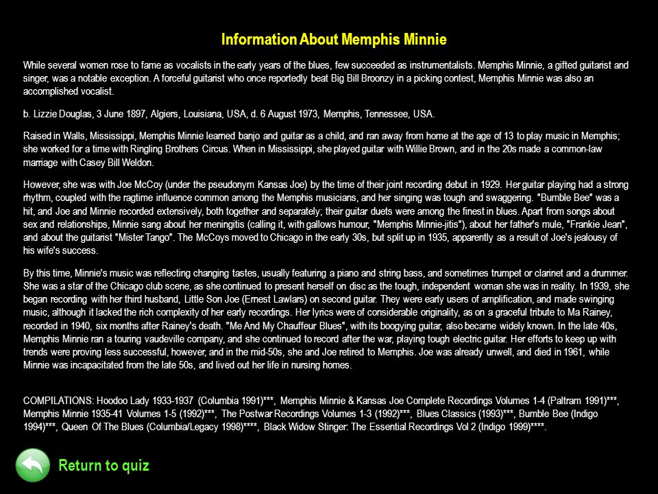 Information About Memphis Minnie
