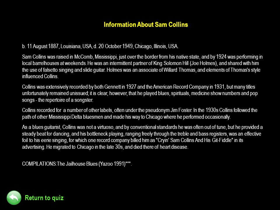 Information About Sam Collins