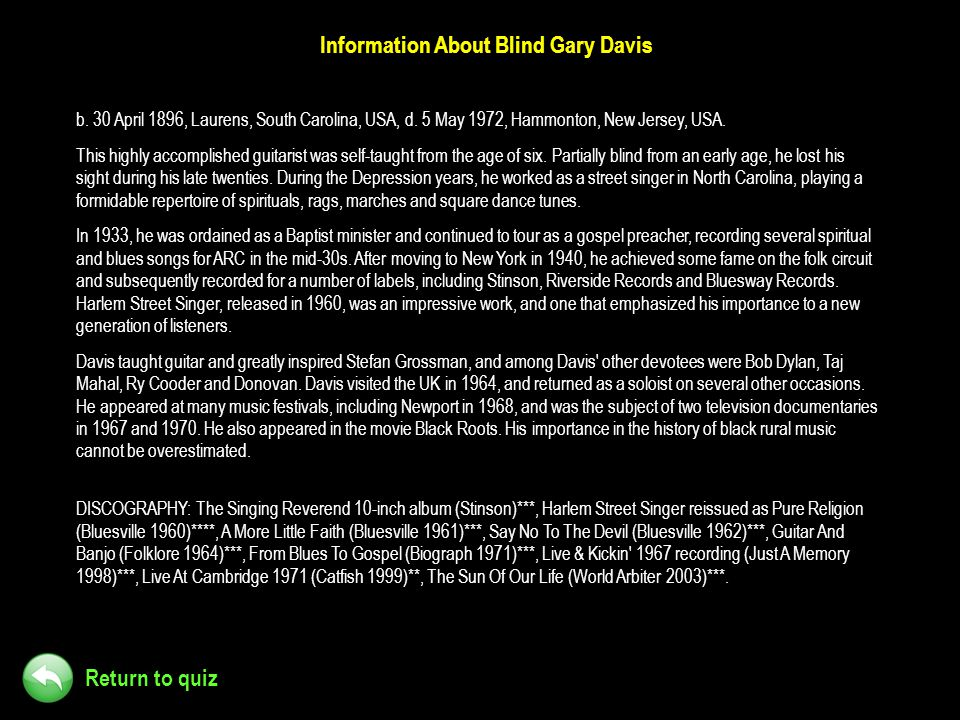 Information About Blind Gary Davis