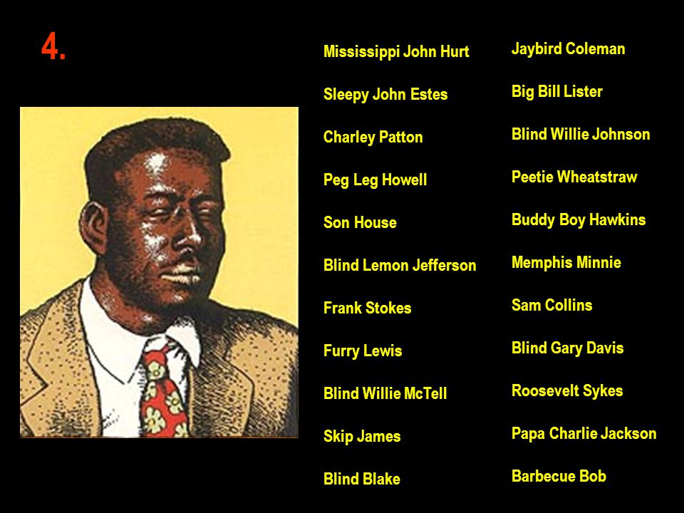 4. Jaybird Coleman Mississippi John Hurt Big Bill Lister