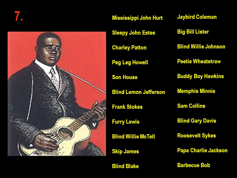 7. Jaybird Coleman Mississippi John Hurt Big Bill Lister