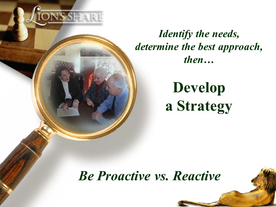 determine the best approach, then… Be Proactive vs. Reactive