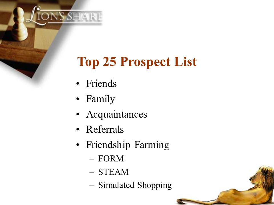 Top 25 Prospect List Friends Family Acquaintances Referrals
