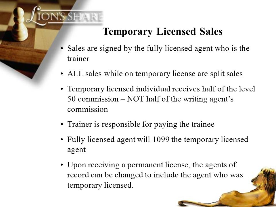 Temporary Licensed Sales