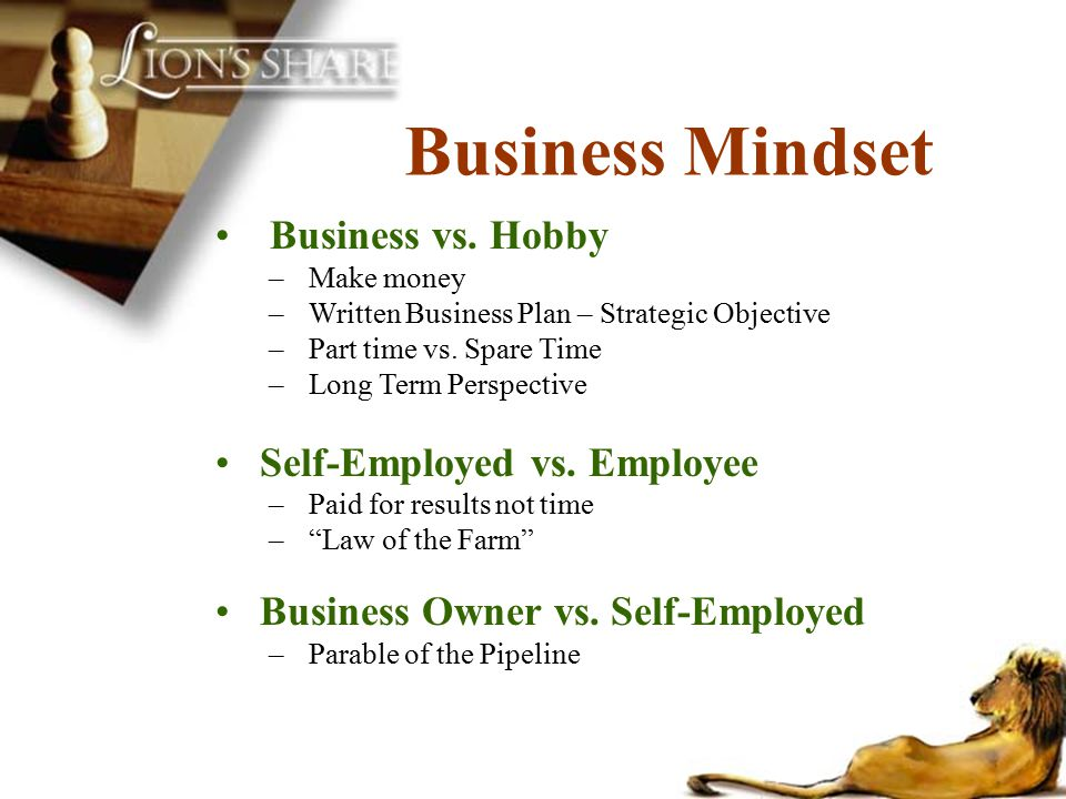 Business Mindset Business vs. Hobby Self-Employed vs. Employee