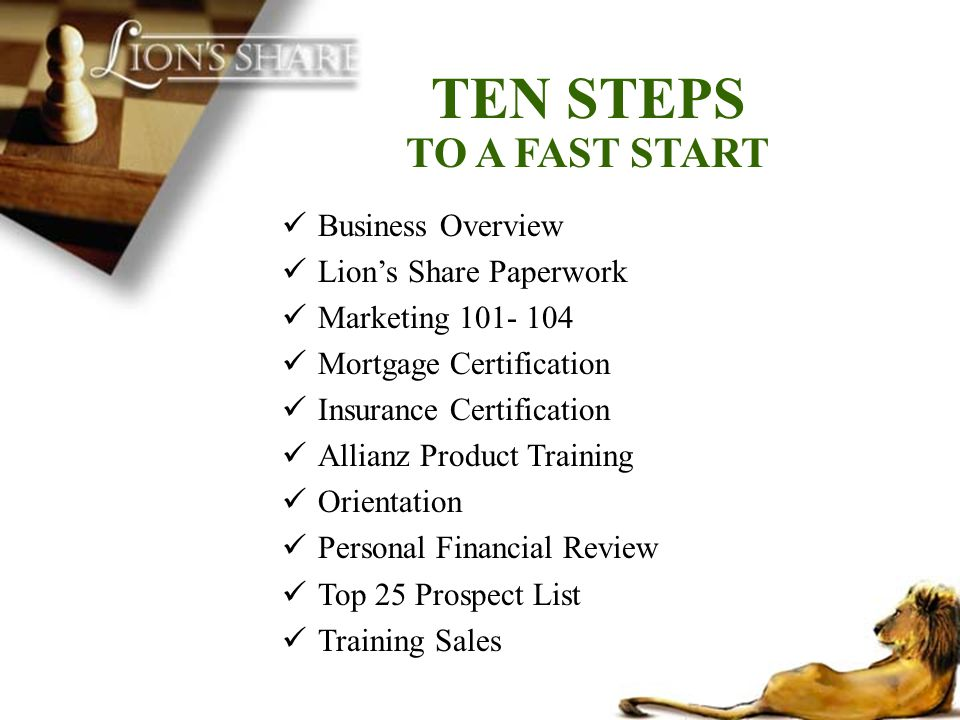 TEN STEPS TO A FAST START Business Overview Lion's Share Paperwork
