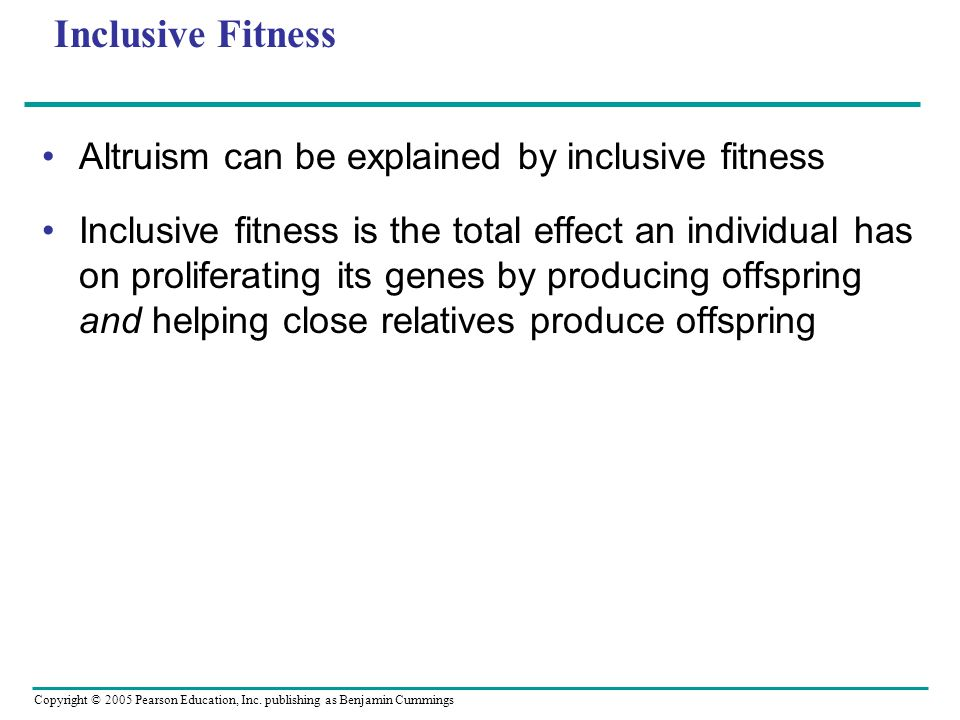 Inclusive Fitness Altruism can be explained by inclusive fitness