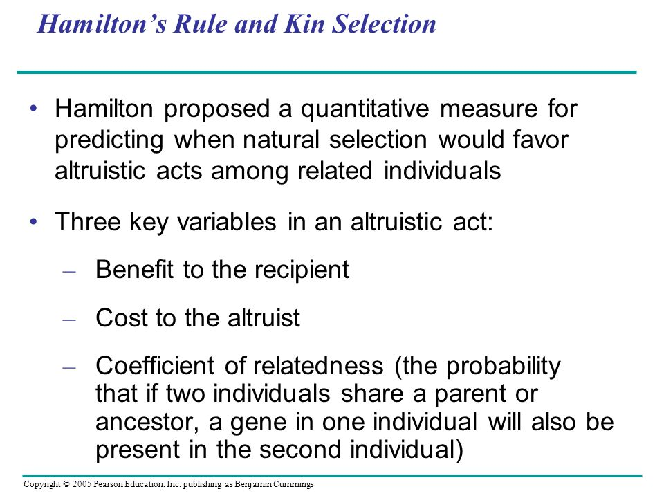 Hamilton's Rule and Kin Selection