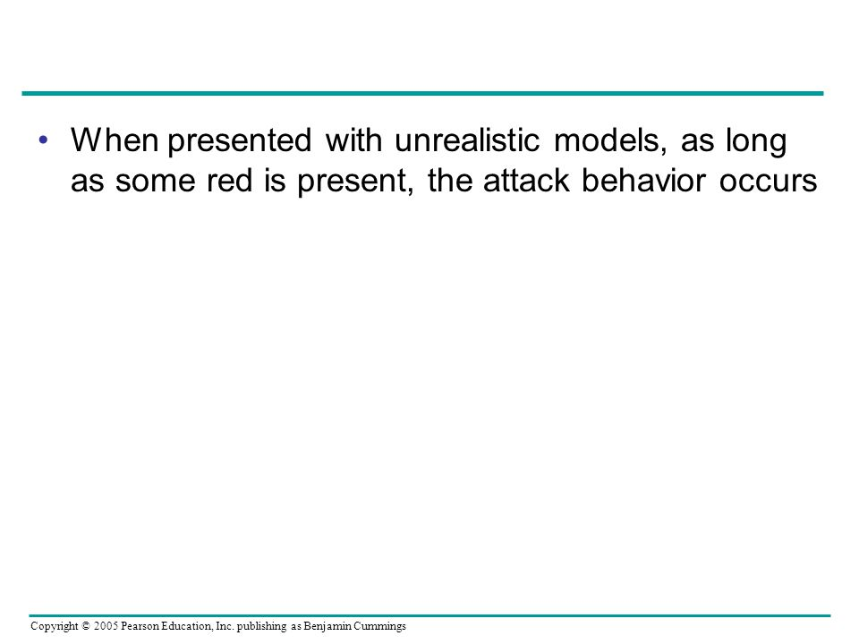 When presented with unrealistic models, as long as some red is present, the attack behavior occurs