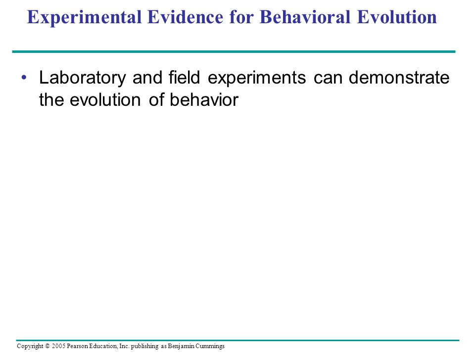 Experimental Evidence for Behavioral Evolution
