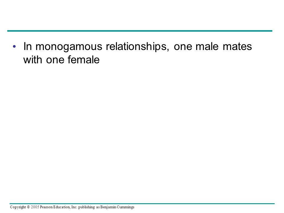 In monogamous relationships, one male mates with one female