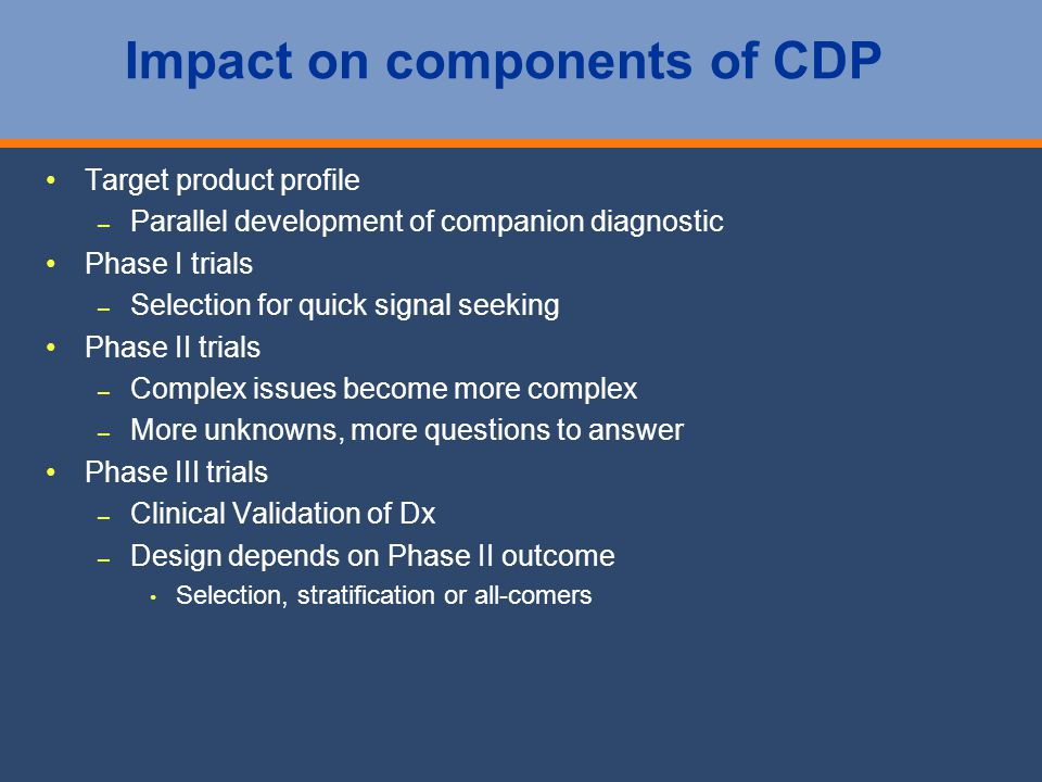 Impact on components of CDP