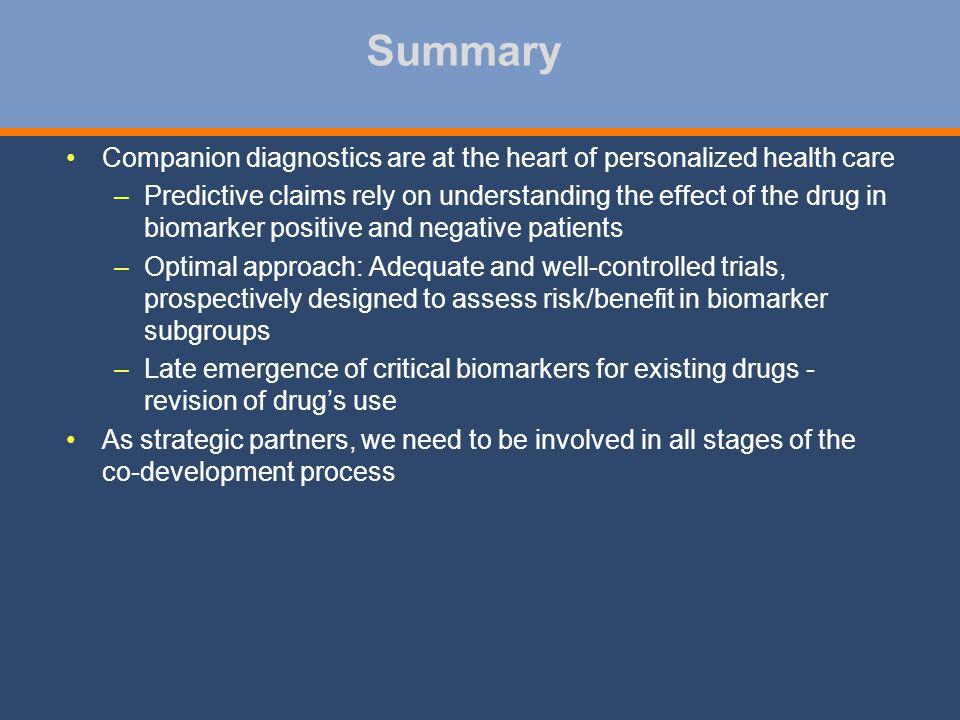 Summary Companion diagnostics are at the heart of personalized health care.