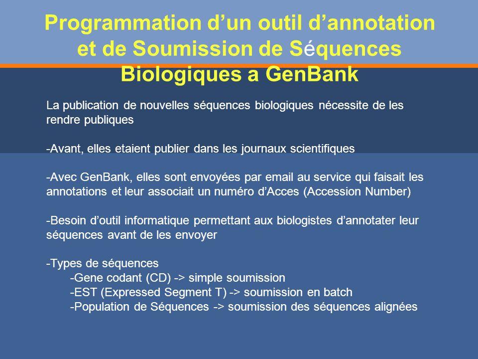 Programmation d'un outil d'annotation et de Soumission de Séquences Biologiques a GenBank