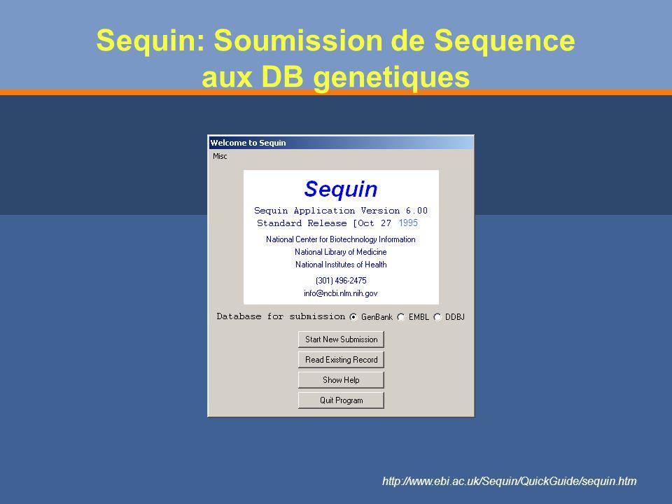 Sequin: Soumission de Sequence aux DB genetiques