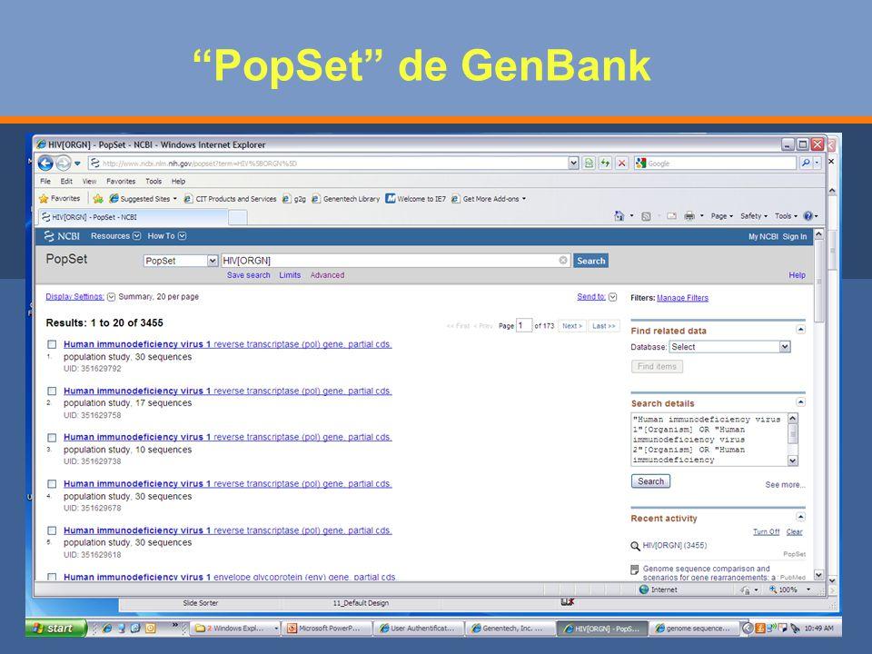 PopSet de GenBank