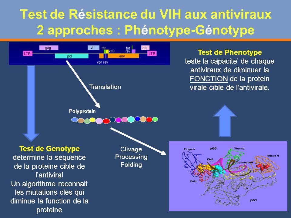 Test de Résistance du VIH aux antiviraux 2 approches : Phénotype-Génotype
