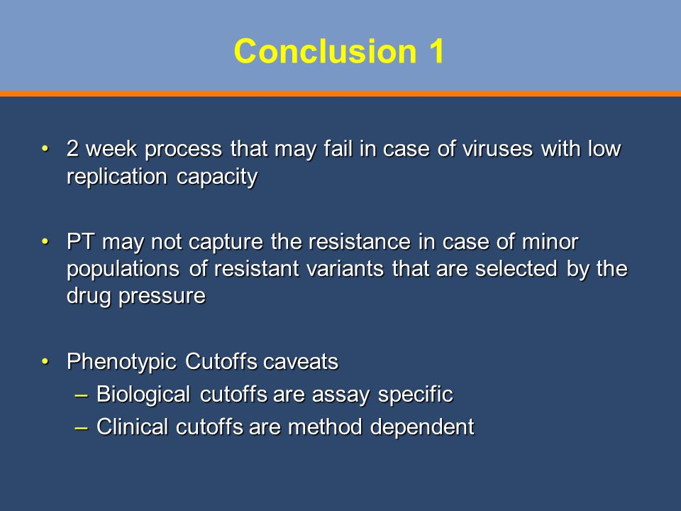 Conclusion 1 2 week process that may fail in case of viruses with low replication capacity.