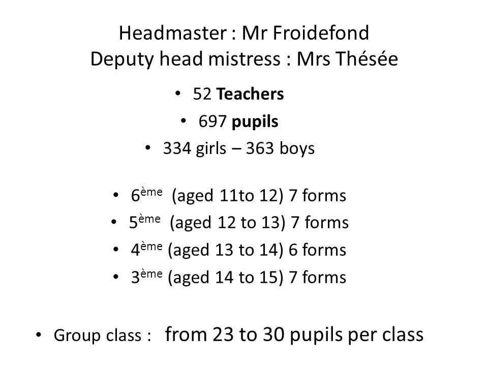 Headmaster : Mr Froidefond Deputy head mistress : Mrs Thésée
