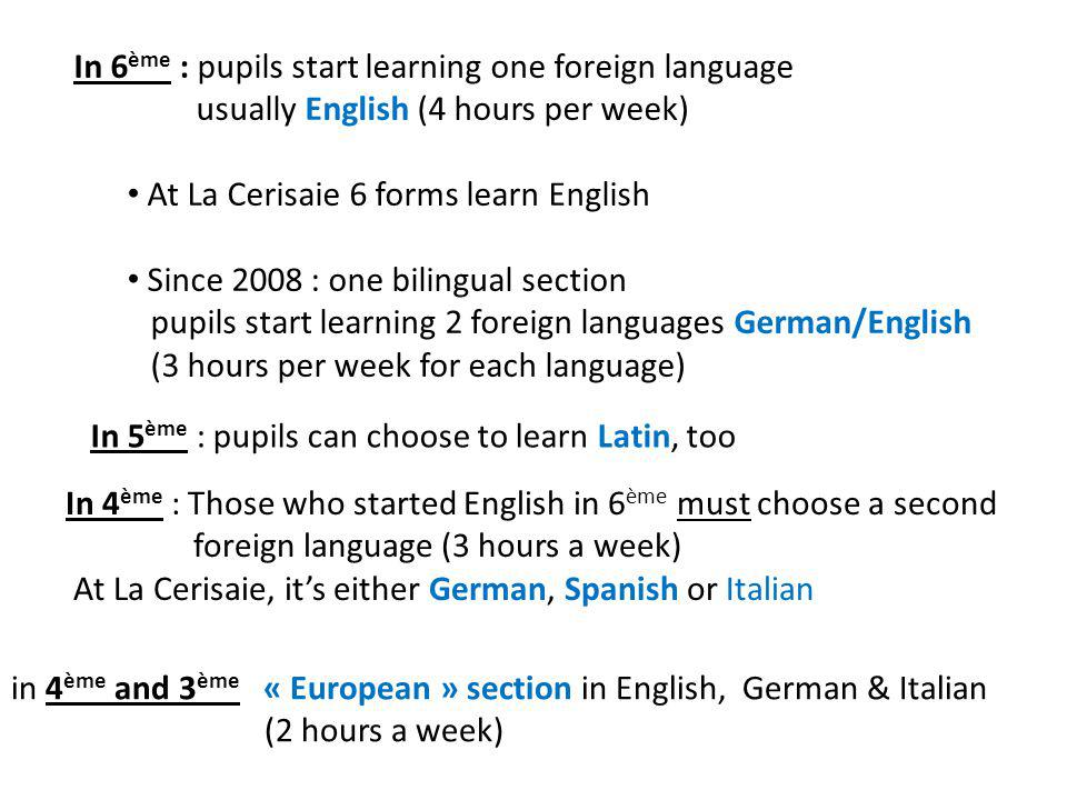 In 6ème : pupils start learning one foreign language