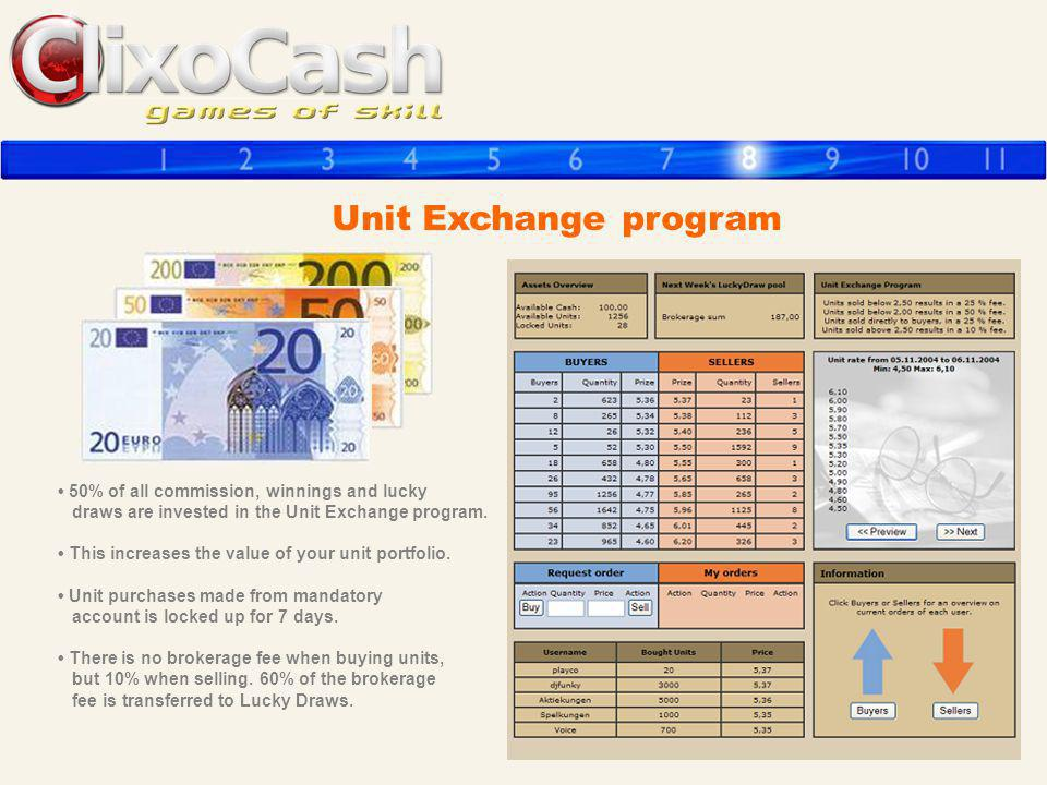 Unit Exchange program • 50% of all commission, winnings and lucky