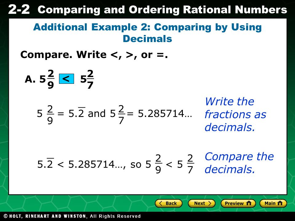 Additional Example 2: Comparing by Using Decimals