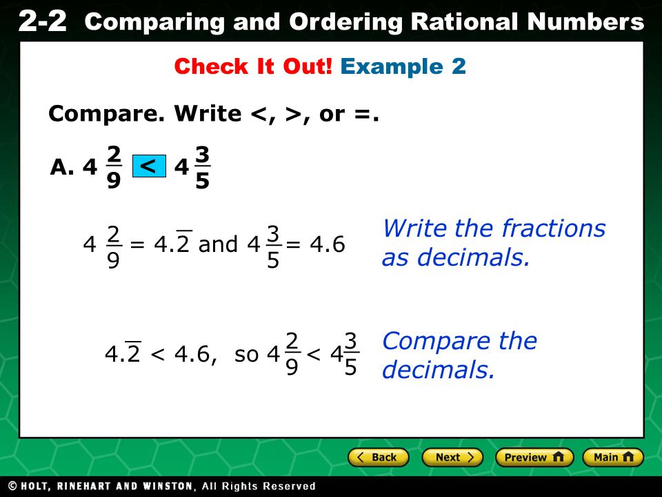 _ _ _ _ Write the fractions as decimals. Compare the decimals.