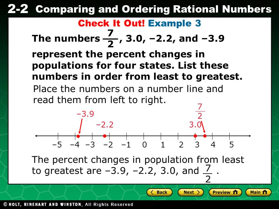 __ Check It Out! Example 3 7 2 The numbers , 3.0, –2.2, and –3.9
